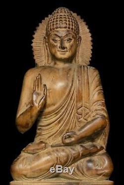 Thai Amulet handmake wood carved Buddha sitting statues beautiful teak Buddhist