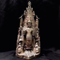 Thai Ayutthaya Khmer Bronze Pagoda Buddha Statue Amulet Figure With Elephant