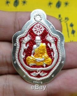 Thai Buddha Amulet Dragon Coin Silver LP Saen Wat BanNongJik Talisman rere item