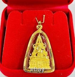 Thai Buddha Amulet Gold 18K Pendant Holy Phra Buddha Chinnarat Luck Fine Jewelry