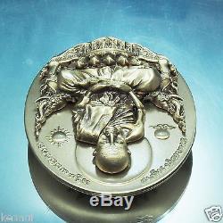 Thai Buddha Amulet LP Tuad Nang Phan V. 1 Bronze Egg-shape Coin Buddha Utthayan