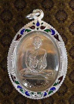 Thai Buddha Amulet Lp. Sup Wat Braklad Phitsanulok Be2555 Silver Coin & Case