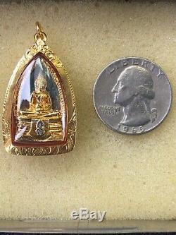 Thai Buddha Amulet Pendant 18k Solid Gold Case