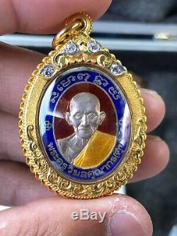 Thai Buddha Amulet Pendant 23k Solid Gold Case