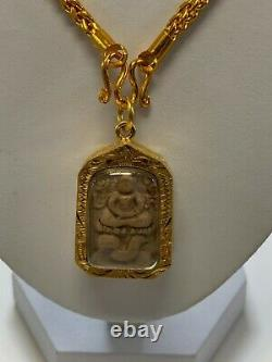 Thai Buddha Amulet, Phra, Luck, Gold, Brown, Necklace Brand New