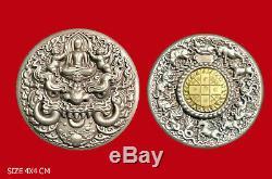 Thai Buddha Amulet Phra RAHU WAT BAH POTIYAN LAMBANG METAL COIN RARE