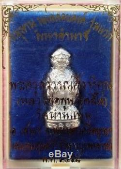 Thai Buddha Amulet Real Silver Monkey Hanuman Maha Amnat LP Poon Wat Banpan
