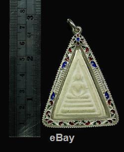 Thai Buddha Phra Somdej L P Nak Wat Rakhang Phim Sarm Riem, Silver case yr2495