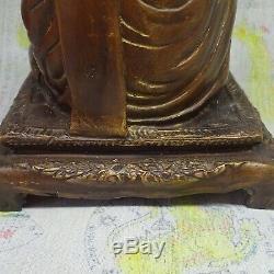 Thai Buddha Statue LP Toh Sitting Brass Figure Thailand Monk Statue Amazing