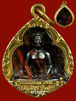 Thai Buddha amulet, attracting, collecting property, gold frame, real
