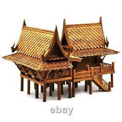 Thai MINI Teak Wood Spirit House Handmade worship Buddha Amulet TYPE A