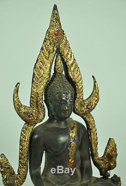 Thai Phra Buddha Chinnaraj old gild bronze Thailand Statue Figure Bucha Amulet