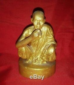 Thai Phra LP Koon Statue Wat Banrai Buddha Amulet Talisman Magic Luck Monk Holy