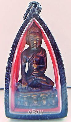Thai Unique Phra Kring LP TimWat Changhai, Chalerm-Pol Rare Old Buddha Amulet Luc
