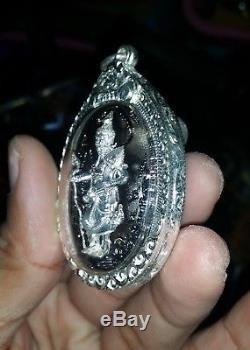 Thai amulet Magic buddha HETMIT Pendants Antique GENUINE TALISMAN 925silver case