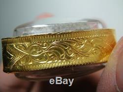 Thai buddha Amulet LP. Tuad Wat Changhai be. 2497 Rare gold case