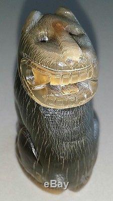 Thai buddha Antiques Tiger Amulet Legend Primitive Carve Magic Influence Empower