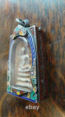 Thai buddha amulet Somdej Toh Bangkhunprom Bangkok Buddha sealed silver case