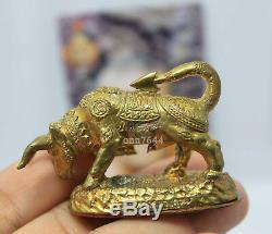 Thai buddha amulet antique old ox bull LP Kalong Wat KHAO LAM at Thailand