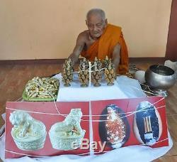 Tiger Gilt Brass & Bia Kae Embed Takrud LP Pring Thai Buddha Amulet Invulnerable