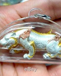 Tiger Magnate Tri color Gold Chain Pendant LP Pong Thai Buddha Amulet Rich Lucky
