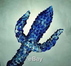Trident Blue Ocean Leklai Kaew Trishula dagger Knife sword Thai Buddha Amulet