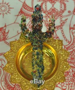 Trident Rainbow Leklai Kaew Trishula dagger Knife sword Thai God Buddha Amulet