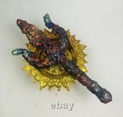 Trishula Trident SURIYAN RACHA LEKLAI Thai buddha Amulet stone lp somporn power