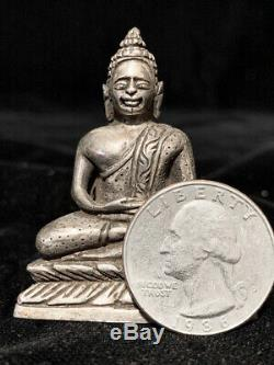 Unusual finely hand-chased solid silver Thai Buddha withinscription