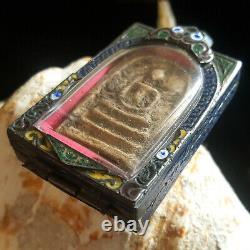 Vintage Case Phra Somdej Pim Yai Old Wat Rakang Thai Buddha Amulet #6001a