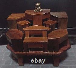 Wood Buddha Statue Stand Table Altar Exotic Lumber 9 Mini Dollhouse Thai Amulet